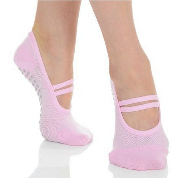 Mia Mesh Grip Sock - Pink Grey