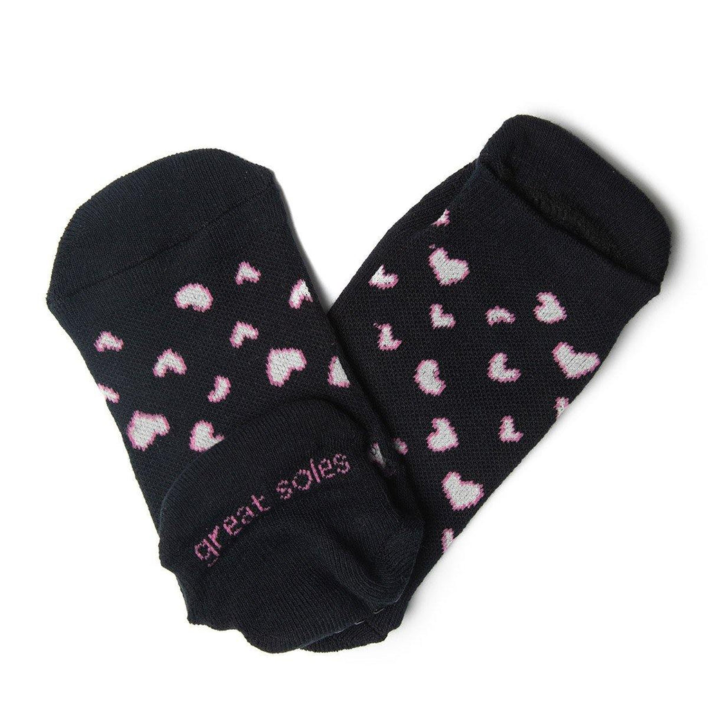 great soles roxy black pink grip socks