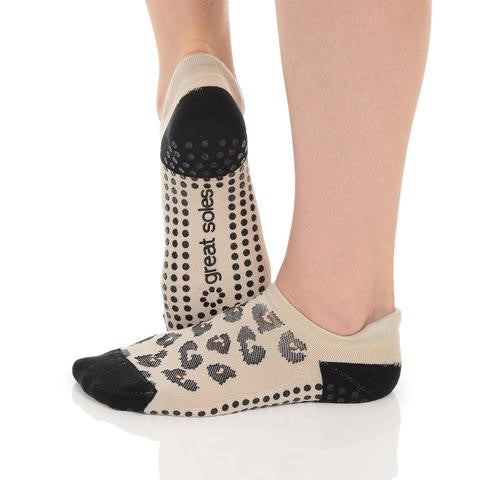 Great Soles Keira Leopard Tab Back Grip Sock