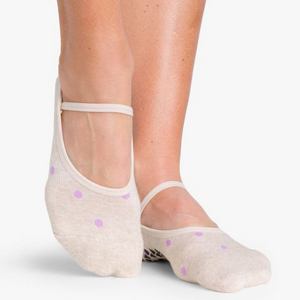 pointe studio shay grip sock oatmeal purple