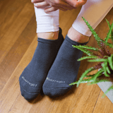 eve grip socks by barre girl in gray
