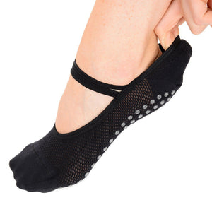 mia mesh black silver great soles grip sock for barre pilates and yoga