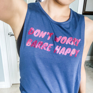 simply workout dont worry barre happy navy pink foil muscle tank