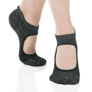 Isabella Grip Sock (Barre / Pilates) - Great Soles black silver