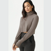 joah brown cropped turtleneck sweater espresso