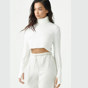 joah brown cropped turtleneck sweater ivory