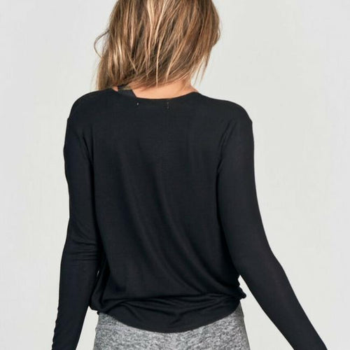 joah brown pure barre pullover in black