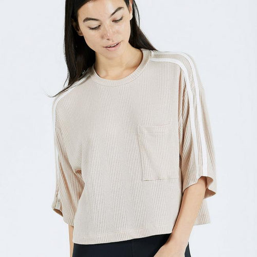 JOAH BROWN - Hustle Tee Top - Taupe Thermal with Ivory
