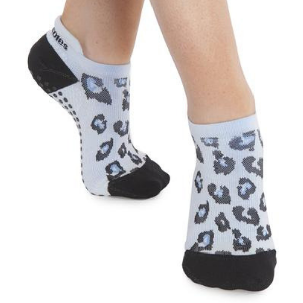 Keira Leopard Tab Back Grip Sock (Barre / Pilates)