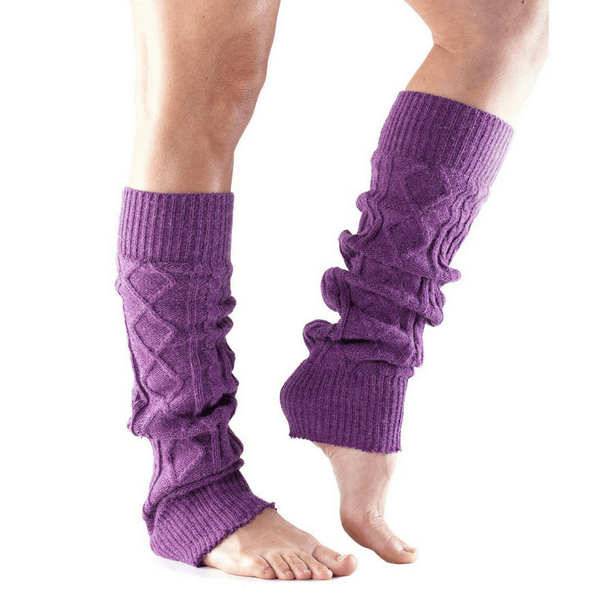 leg warmer toesox cable knit plum