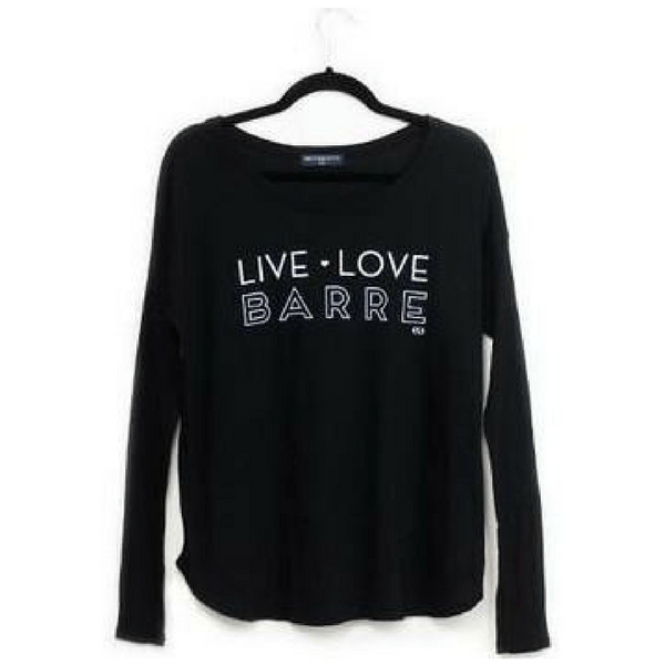 live love barre edje active long sleeve black pullover top