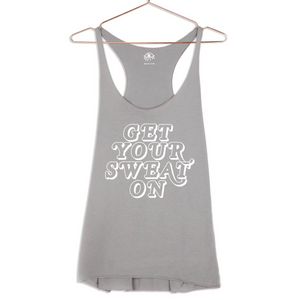 luciana get your sweat on racerback tank gray