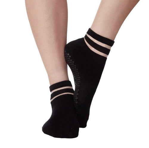 lucky honey black grip socks in crew