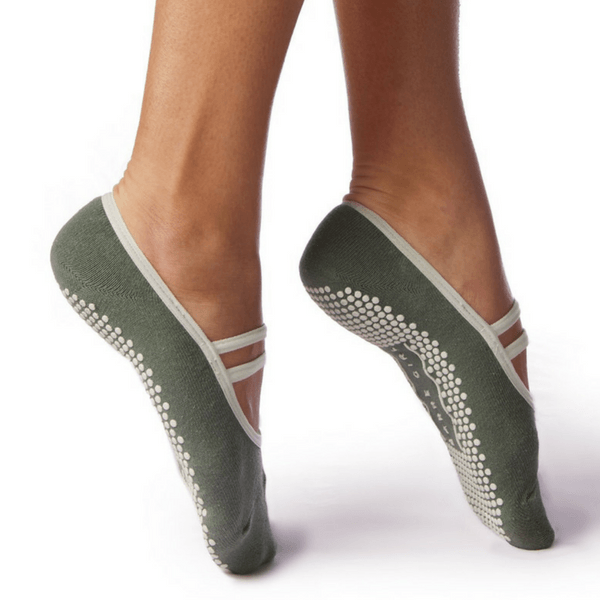 barre girl grip socks by barre girl mary jane style sea green
