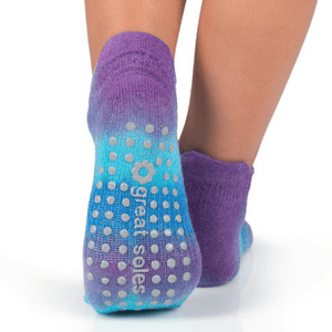 great soles tie dyed grip sock in morning glory