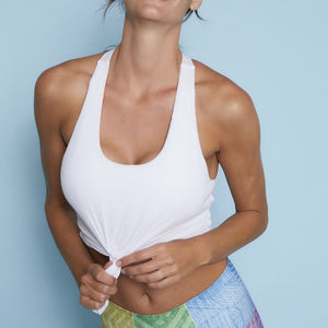 niyama sol tie tank sports bra in white