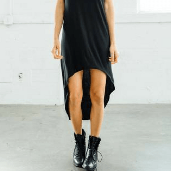 joah brown on point athleisure dress in black