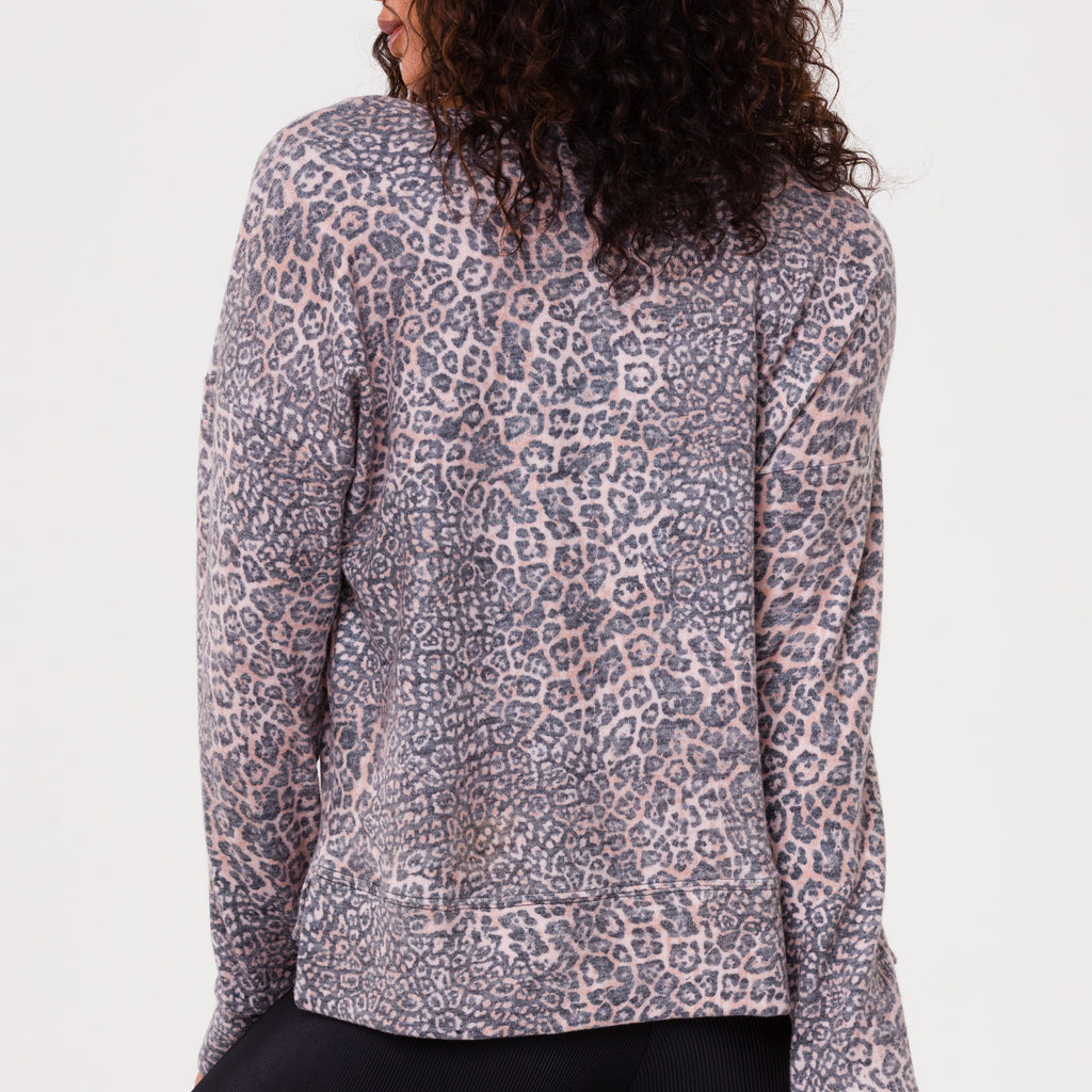 onzie high low sweatshirt pounce leopard