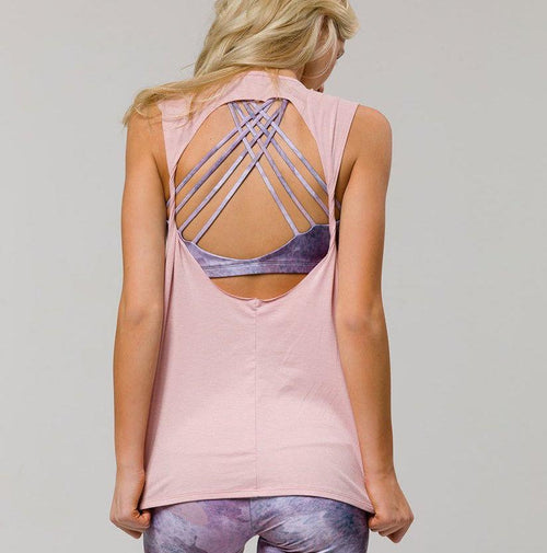 twist back top in blush pink by onzie active