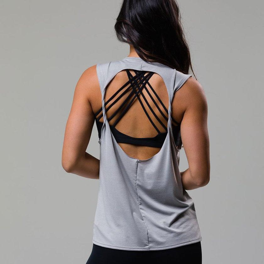 twist back top in silver by onzie active