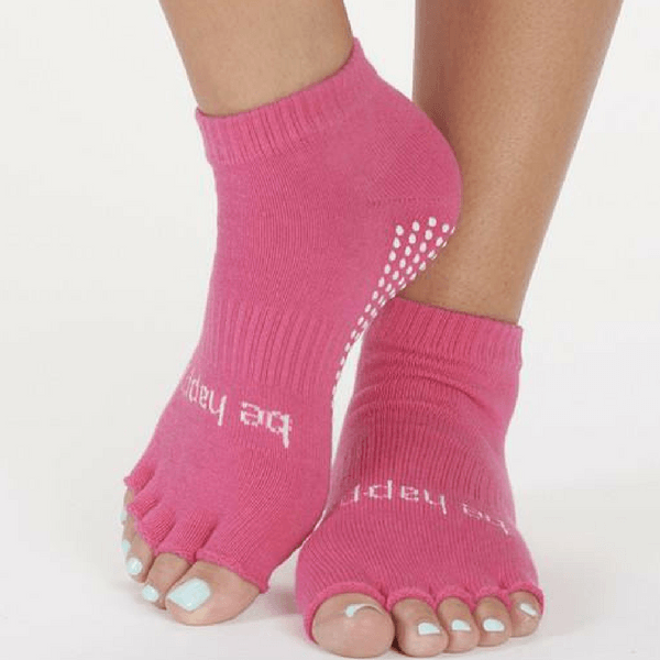 Half Toe Socks - Be Happy in Pink (Barre / Pilates)
