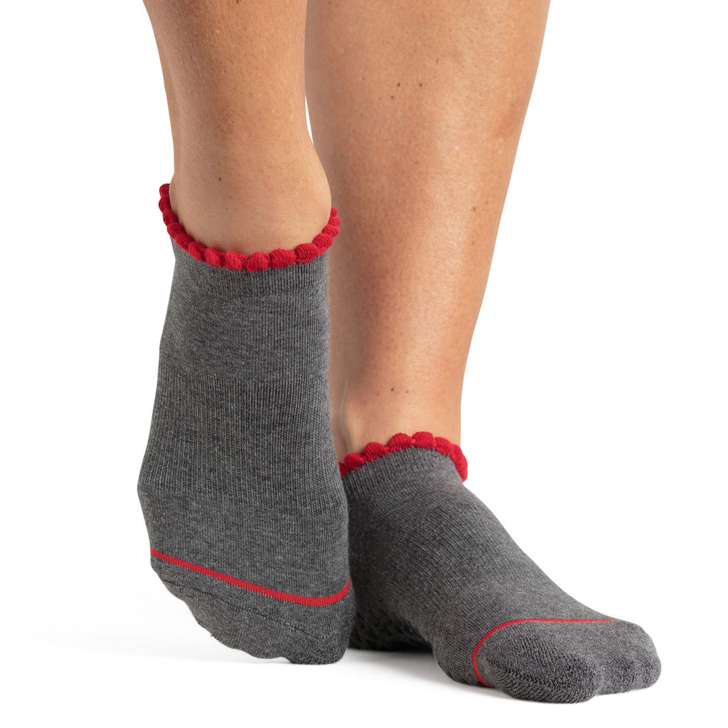 pointe studio Janice grip sock gray red
