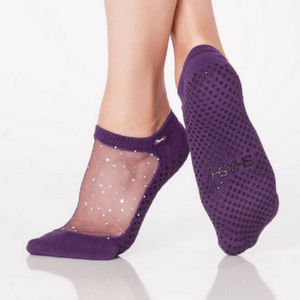 star grip shashi socks in purple for barre and pilates