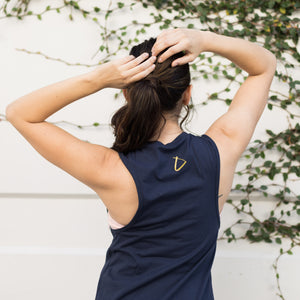 simplyworkout Self Love Is In - Navy Foil - Muscle Tank