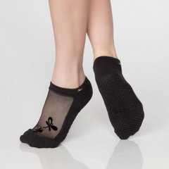 Classic Mesh Grip Sock - Graphite Dragon Fly Tattoo (Barre / Pilates)