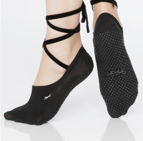lace up grip socks by shashi black