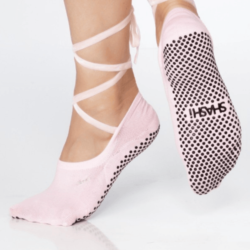 lace up grip socks by shashi pink