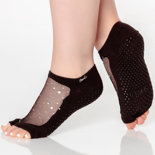 SHASHI Star Grip Socks - Open Toe black glitter