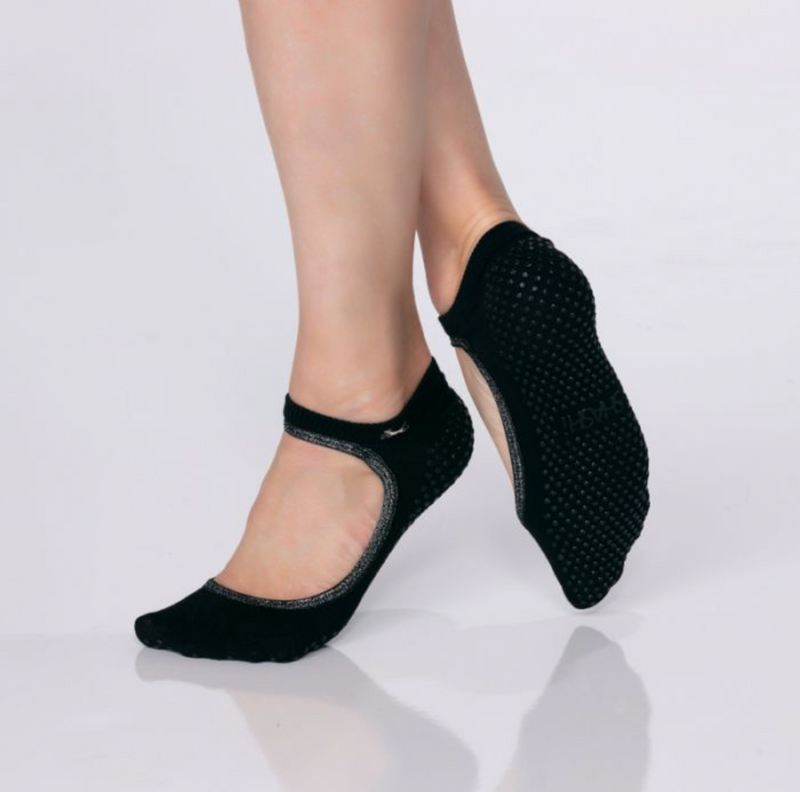 shashi sweet black silver grip socks