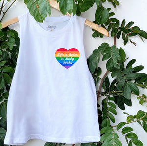 simply workout life is better in sticky socks crop white tank rainbow