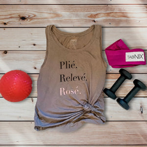 simply workout plie releve rose tank