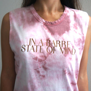 simply workout pink tie-dye barre state of mind tank
