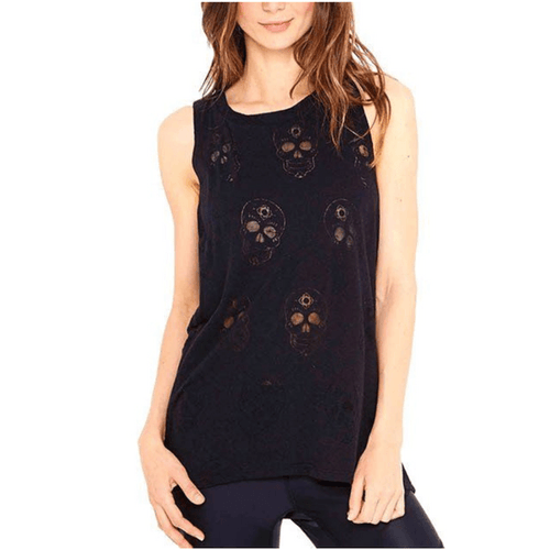 Black Sugar Skull - Burnout Muscle Tank