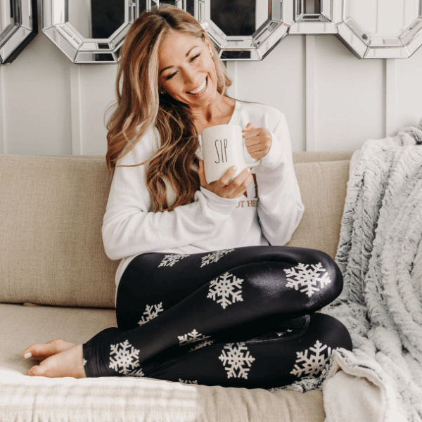 Silver Foil Snowflake - Full Length Leggings