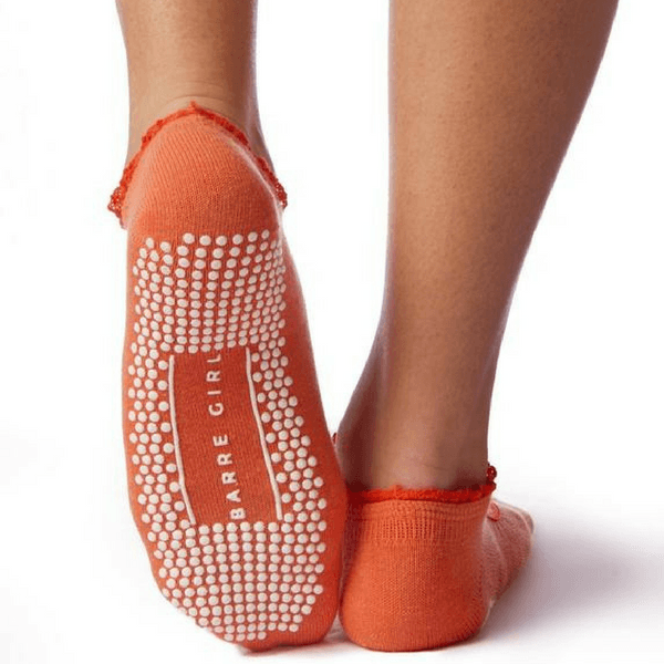 orange stella low rise ruffle grip sock by barre girl