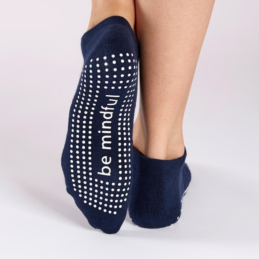 Be Mindful Grip Socks - Navy/White
