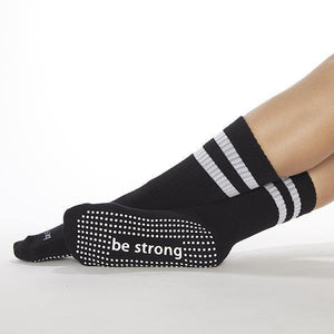 sticky be strong crew black grip socks