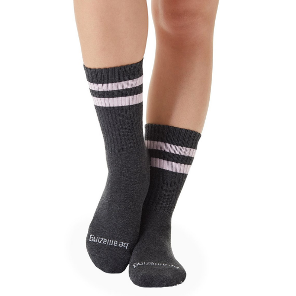Crew Grip Socks - Be Amazing - Gray (Barre / Pilates)