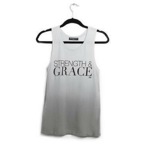 strength and grace tank top in gray by EDJE ACTIV