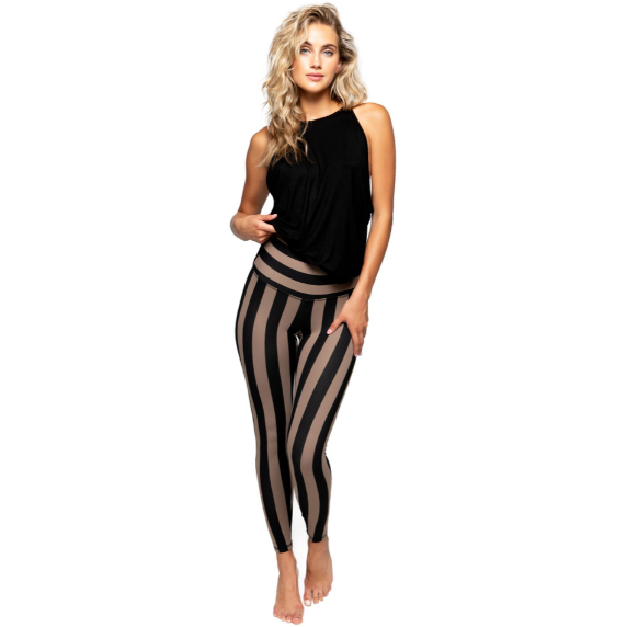 Strut This Legging Teagan 7/8 Taupe Stripe