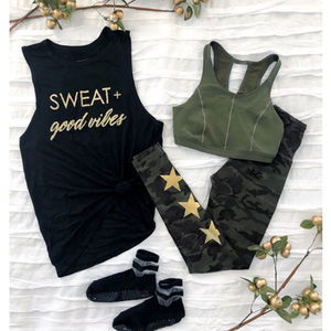 barre socks Sweat and Good Vibes Workout Tank