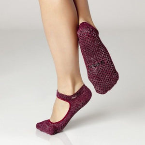 sweet grip shashi sock in burgundy wine for barre and pilates