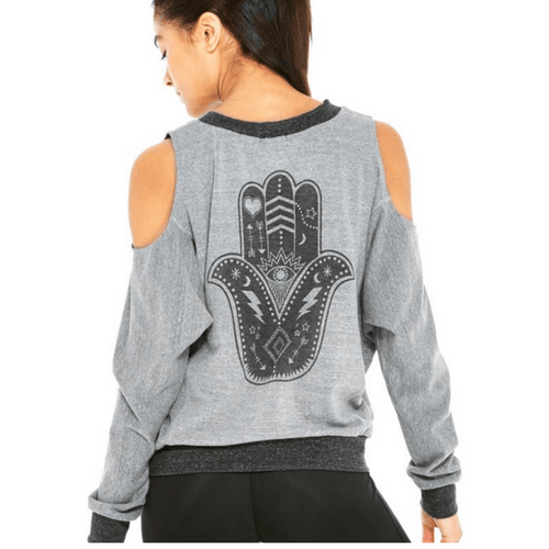 Hamsa Cold Shoulder Burnout Pullover