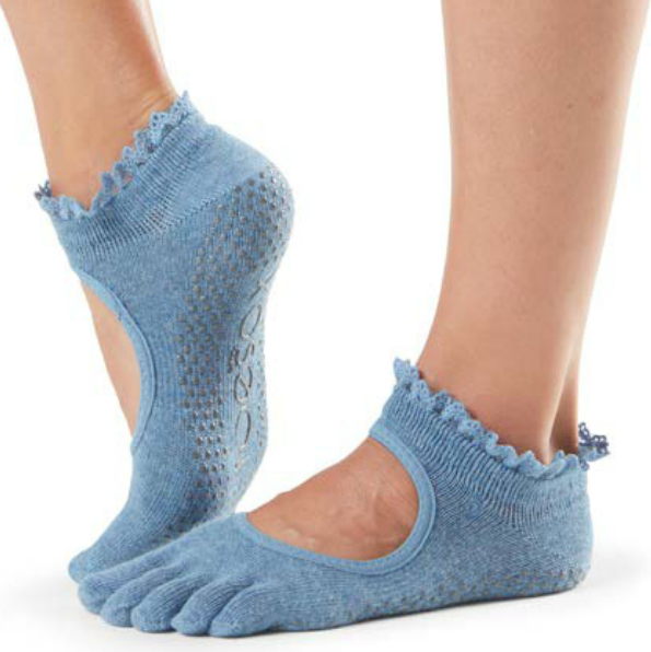 ToeSox Bella Denim Lace Full Toe Grip Sock