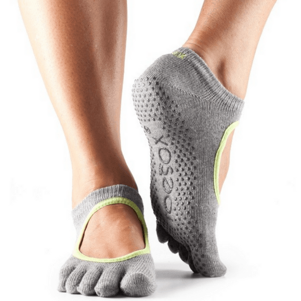 Bella Full Toe - Heather Gray / Lime Grip Socks (Barre / Pilates)