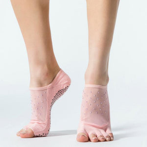 Toesox Luna Half Full Toe Grip Socks kiss